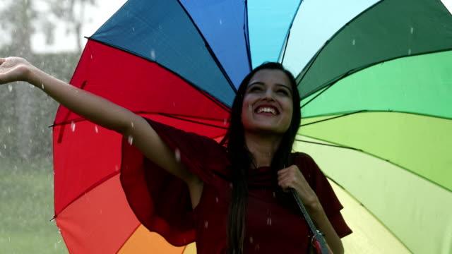 Young woman enjoying in the rain season, Delhi, India
