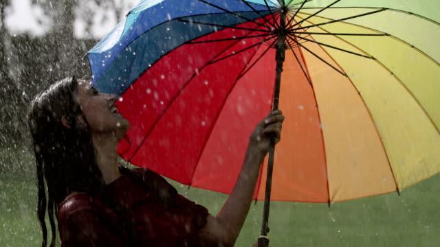 vídeos de stock e filmes b-roll de young woman enjoying in the rain season, delhi, india - chapéu