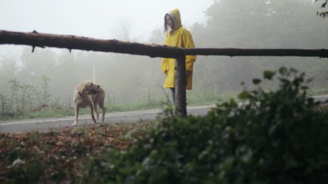 vidéos et rushes de jeune femme appréciant jour de pluie avec son chien - vêtement de pluie