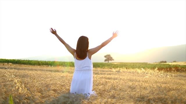 stockvideo's en b-roll-footage met young woman enjoying sunlight with raised arms in straw field - menselijke arm