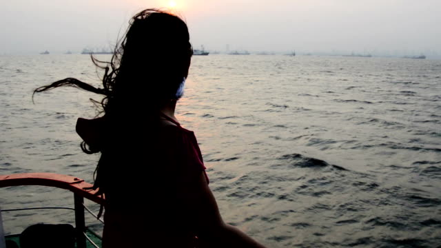 young woman enjoying the sea from ferryboat - ferry stock videos & royalty-free footage