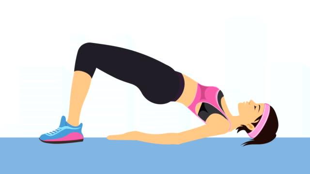 vidéos et rushes de jeune femme exerçant pour la bonne santé, de bien-être et de remise en forme - pilates