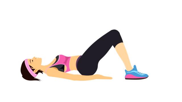giovane donna che si allena per una buona salute, benessere e fitness - pilates video stock e b–roll