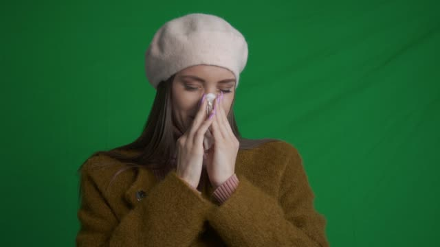 young woman feeling sick. green screen - micro organism stock videos & royalty-free footage