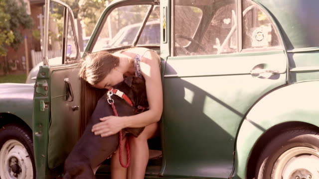 young woman getting into a vintage car cuddling her dog - dividing stock videos & royalty-free footage