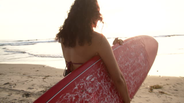 rv young woman going surfing - swimwear stock videos & royalty-free footage