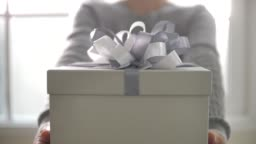 Young woman hands holding gift box and giving to you