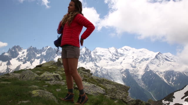 A young woman hiking in Chamonix France