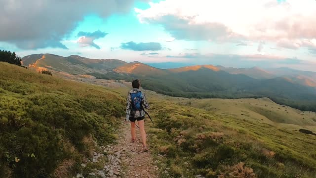 young woman hiking in the wild - behind stock videos & royalty-free footage