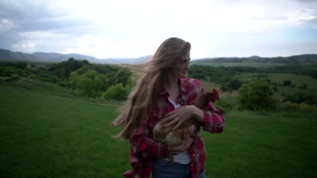 ms young woman holding a chicken on a hillside. - one teenage girl only stock videos & royalty-free footage