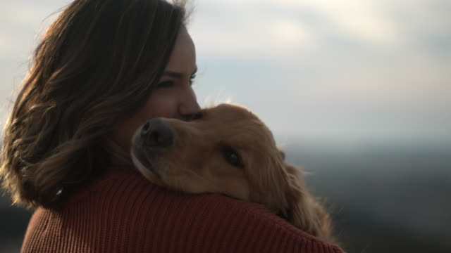 cu young woman holding her dog. - haustierbesitzer stock-videos und b-roll-filmmaterial