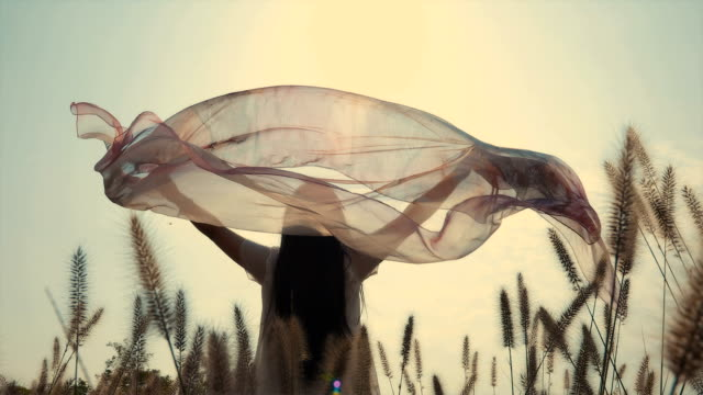 young woman holding scarf at sunset - scarf stock videos & royalty-free footage