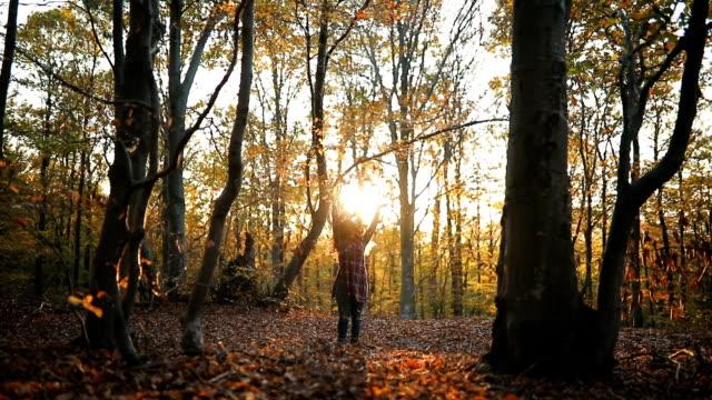 junge frau in einem park werfen blätter - autumn stock-videos und b-roll-filmmaterial