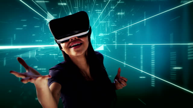 Young woman in digital tunnel. Exploring virtual reality