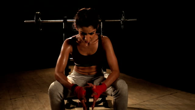 young woman in health club, delhi, india - genderblend stock videos & royalty-free footage