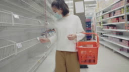 Young Woman in Medical Mask Shopping During Empty Shelf