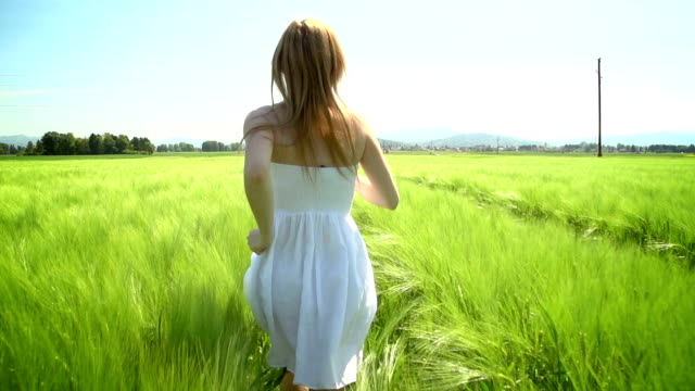 young woman in white dress running through green wheat field - mgost stock videos and b-roll footage