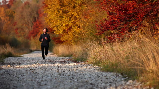 Young woman jogging through autumn countryside
