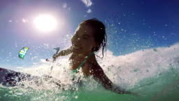 Young Woman Kitesurfing In Ocean, Extreme Summer Sport