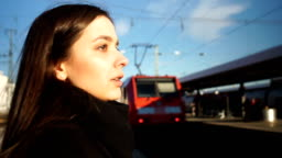 Young woman late for electric train, bad start to working day, desperate emotion