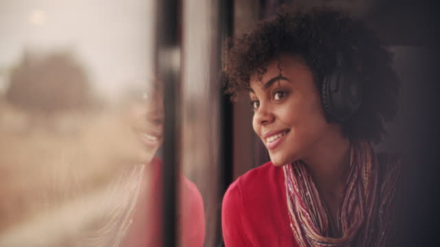 stockvideo's en b-roll-footage met cu young woman listening to music while traveling on a train - passenger train