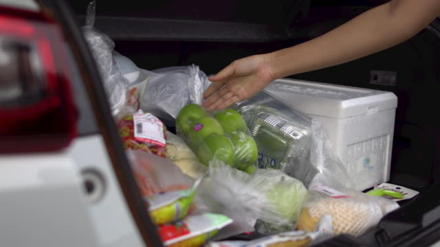 a young woman loads her groceries into her car - buy single word stock videos & royalty-free footage