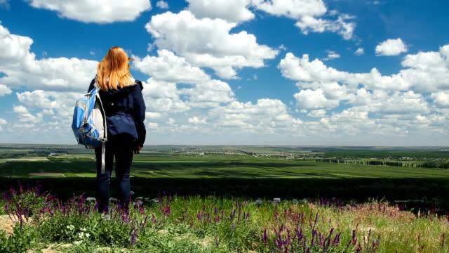 渓谷の風光明媚な景色を見て若い女性 - バッグ点の映像素材/bロール