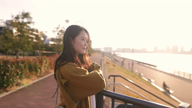 young woman looking at sunset view at tokyo bay - serene people stock videos & royalty-free footage