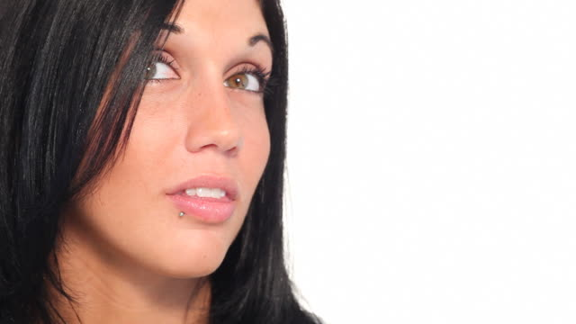 young woman looking - lip ring stock videos and b-roll footage