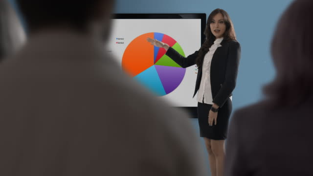 young woman making presentation in office - liniendiagramm stock-videos und b-roll-filmmaterial