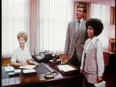 1971montage ws ms young woman meeting colleagues on first day of new job / usa / audio - 1971 stock-videos und b-roll-filmmaterial