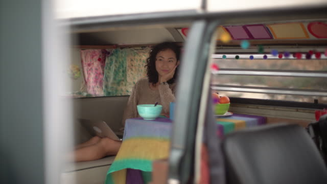 WS Young woman on a road trip in her camper van