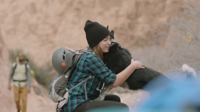 young woman on hiking trip pets dog on moab trail. - terreno accidentato video stock e b–roll