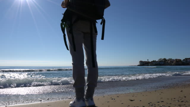young woman on holiday exploring nature on the beach - solo una donna di età media video stock e b–roll