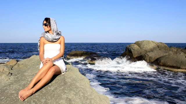 young woman on the beach - shawl stock videos and b-roll footage