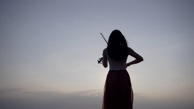 山の若い女性は夕日に海の背景にバイオリンを演奏. - バイオリン奏者点の映像素材/bロール
