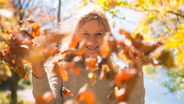 young woman outdoors in nature on a windy autumn day - autumn leaf color stock videos and b-roll footage
