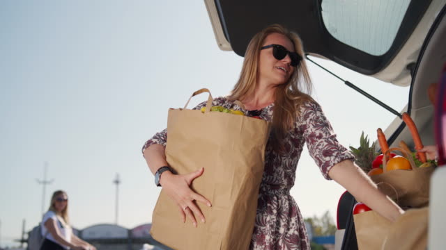 young woman packing groceries in car trunk - paper bag stock videos & royalty-free footage