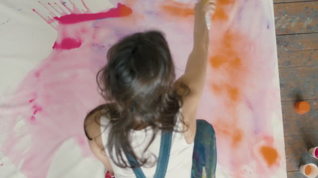 young woman painting - spray painting stock videos & royalty-free footage