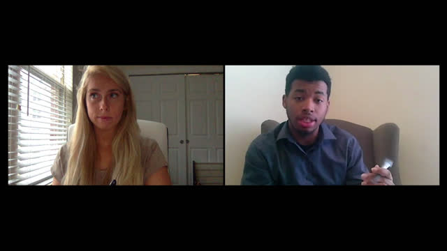 young woman participates in video chat job interview with young male - recruit stock videos & royalty-free footage