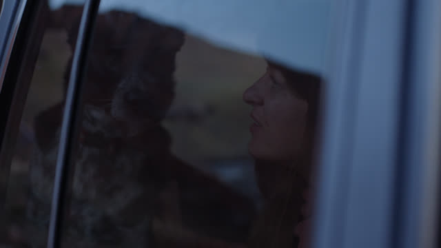 young woman pets dog lovingly as they stare out car window on road trip adventure. - 4x4 video stock e b–roll