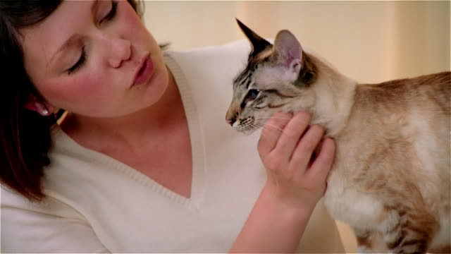 CU, ZO, Young woman petting Balinese cat in living room
