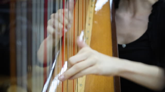 young woman playing harp - harp stock videos & royalty-free footage