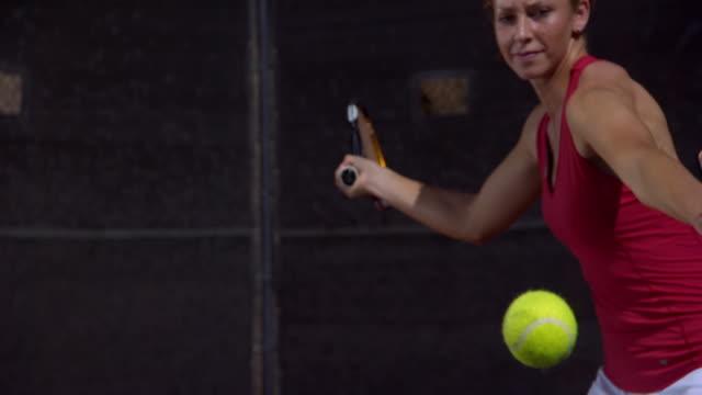 slo mo, cu, young woman playing tennis, santa barbara, california, usa - hitting stock videos & royalty-free footage