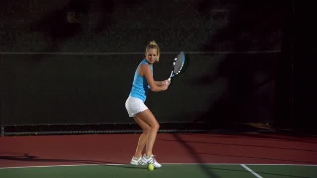 ws, young woman playing tennis, santa barbara, california, usa - tennis stock videos and b-roll footage