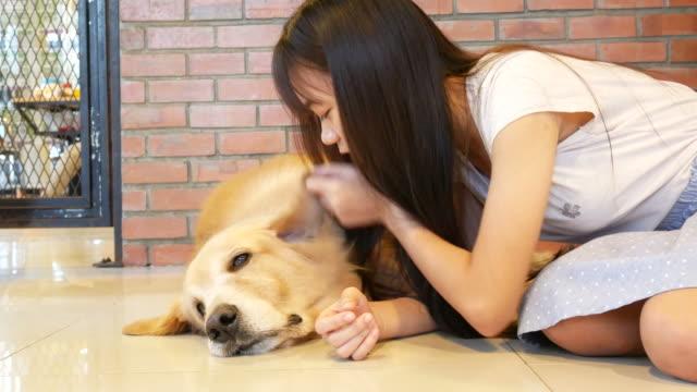 若い女性が、犬 - ペット点の映像素材/bロール