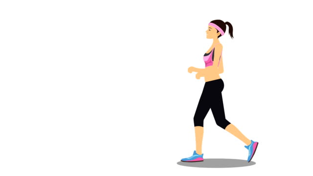 young woman power walking illustrative cinemagraph style - racewalking stock videos and b-roll footage