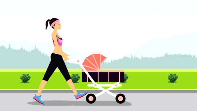young woman power walking illustrative cinemagraph style - power walking stock videos and b-roll footage