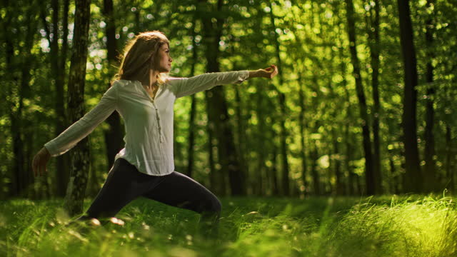 slo mo young woman practices yoga in a sunny green forest - non urban scene stock videos & royalty-free footage