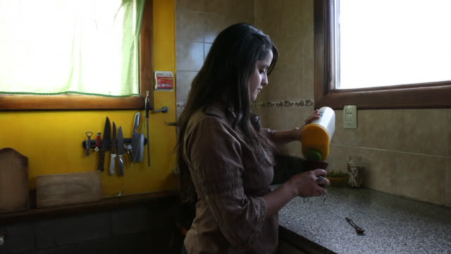a young woman prepares the national drink of argentina the mate tea and drinks it with a typical straw in a traditional calabash gourd - gourd stock videos and b-roll footage